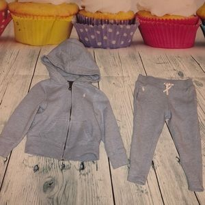 Girls Heather blue Polo jogger hooded sweatsuit